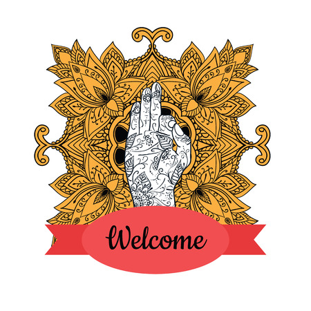 jnana: Elegant Ornaments Lace Mandala. Jnana mudra. Ancient decorative ornament pattern. Hand-drawn Islam, Arabic, Indian, ottoman motifs, greeting cards, wedding invitation, creative template, vector