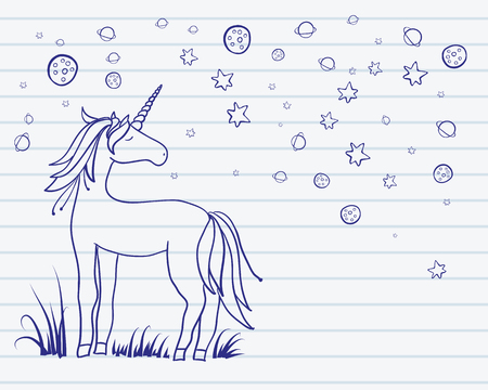 Drawing silhouette of a unicorn with the planets and stars. Vector illustration