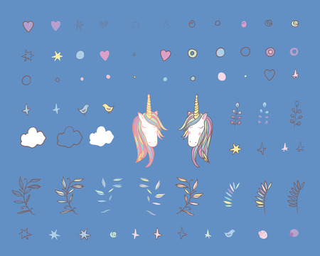 Unicorn Rainbow set - girls scrapbook paper. Perfect for wrapping presents, scrapbook pages, cards, party decorations, bookjournal cover, product design, apparel, planners, invitations Illustration
