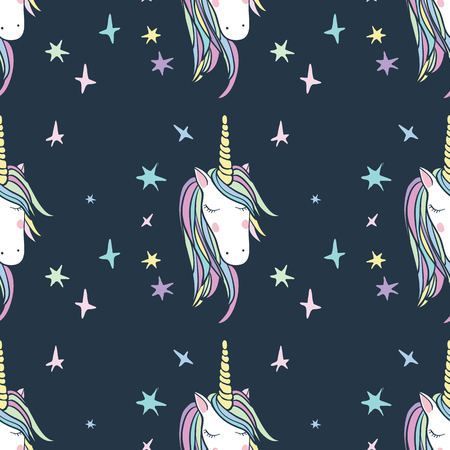 planners: Unicorn Rainbow seamless pattern - girls scrapbook paper. Perfect for wrapping presents, scrapbook pages, cards, party decorations, bookjournal cover, product design, apparel, planners, invitations Illustration