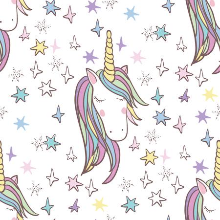 Eenhoorn van de regenboog naadloos patroon - meisjes plakboekdocument. Perfect voor het verpakken van cadeautjes, plakboek pagina's, kaarten, partij decoratie, boek  tijdschrift dekking, product design, kleding, planners, uitnodigingen Stock Illustratie