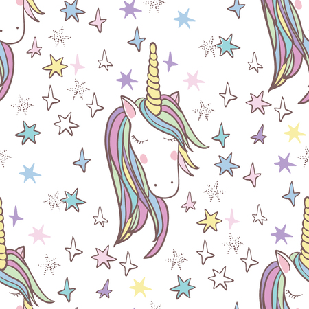 Unicorn Rainbow seamless pattern - girls scrapbook paper. Perfect for wrapping presents, scrapbook pages, cards, party decorations, bookjournal cover, product design, apparel, planners, invitations 向量圖像