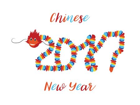 chinese new year card: Chinese New Year Asian symbols of good luck Chinese dragon element in the form numbers 2017. Vector festive background.