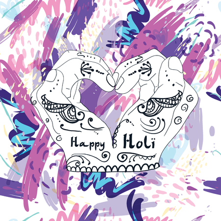 Abstract holiday background Happy Holi colors India. Vector stained watercolor splashes in pastel colors. Beautiful abstract texture fashion style 80 x Memphis