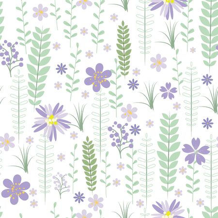 plant delicate: Vintage romantic vector trendy seamless pattern (tiling). Abstract flowers with soft colors for your design Illustration