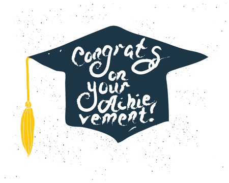 Greeting Card With Congratulations Graduate Completion of Studies. Illustration on white background