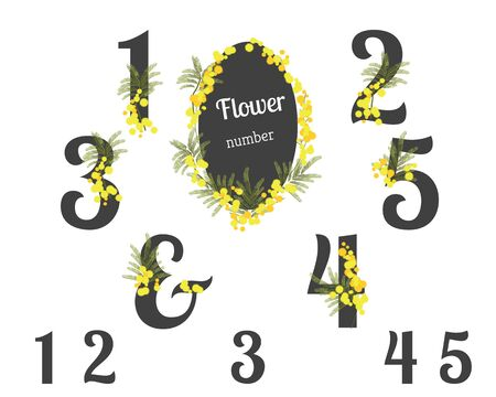 numbers clipart: Abstract flower spring illustration. Mimosa flowers. Numbers floral clipart for your holiday Illustration