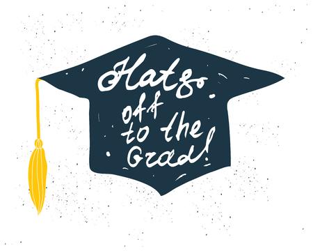 Tarjeta de felicitación con la graduación de la enhorabuena Finalización de estudios. Ilustración sobre fondo blanco