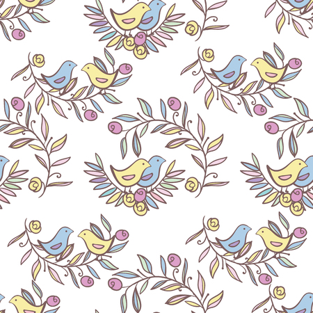 Vintage Floral Seamless Background with Birds, Vector watercolor Illustration Illustration
