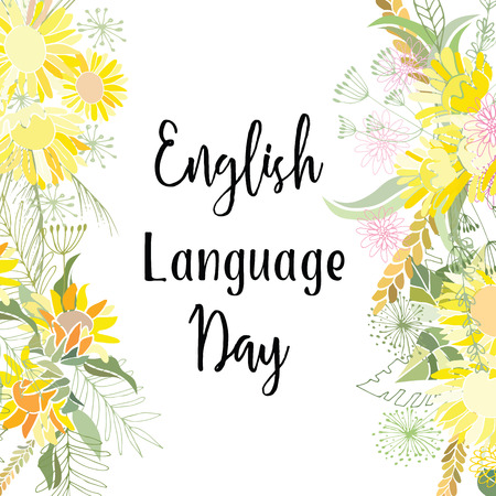 Greeting card of the English Language Day. Abstract background Illustration