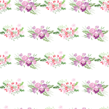 Summer flower composition with delicate light flowers. Vector illustration.