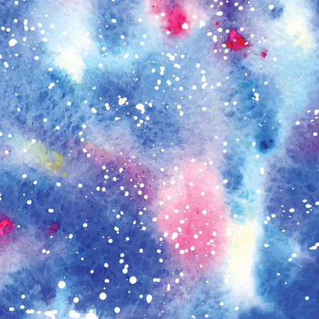 starry night: Art of watercolor stains of paint on watercolor paper. Grunge abstract vector background