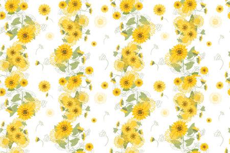 Illustration Yellow Sunflowers Stok Fotoğraf