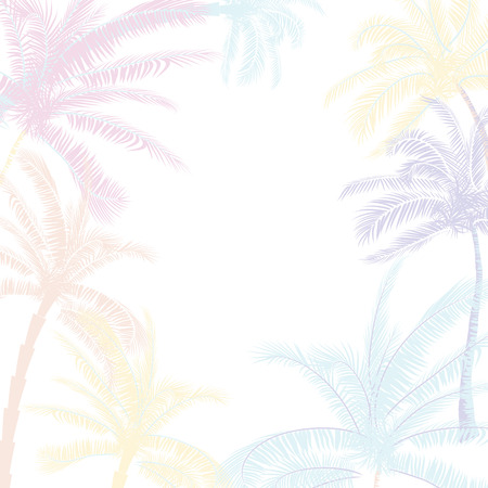 Vector Beautiful exotic tropical summer pattern with palm trees Illustration