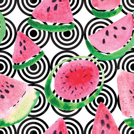 Seamless pattern from the juicy lobes of watermelons.