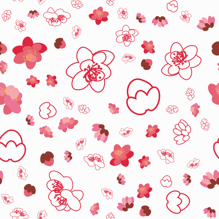 Trendy flower sakura background seamless pattern