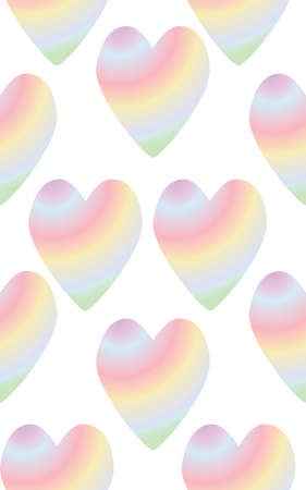 Seamless with colorful rainbow heart