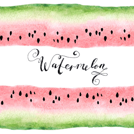 Watercolor hand-drawn beautiful sweet watermelon. Lizenzfreie Bilder