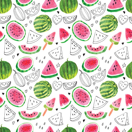 lobes: Seamless pattern from the juicy lobes of watermelons.