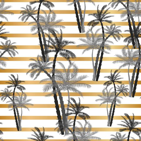 Vector Beautiful exotic tropical summer pattern with palm trees Lizenzfreie Bilder