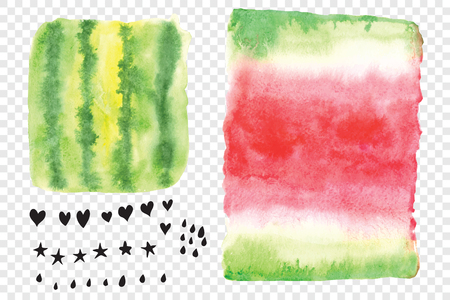 A set of elements painted in watercolor. Collection Watermelon mood. Lizenzfreie Bilder