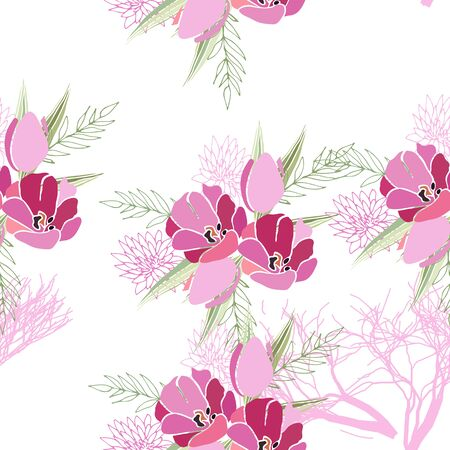 seamless avec des fleurs d & # 39 ; été et des feuilles sur fond blanc. motif de couleur de camomille dans la conception de couleur pour le mode de couture Vecteurs