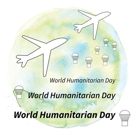 Illustration World humanitarian day. Aircraft with help boxes on a watercolor background.