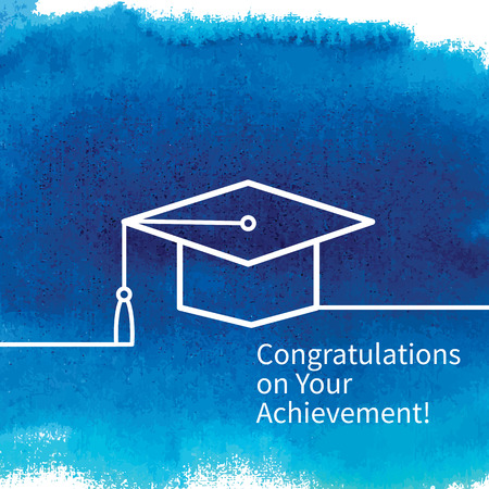 completion: Greeting card with congratulations Graduate completion