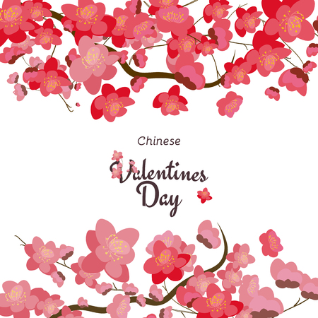 Holiday greetings illustration Chinese Valentines Day. Vector illustration for you. Modern fashion trend design.