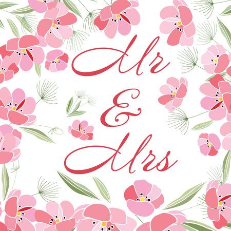 Retro style Illustration with flowers Ilustração