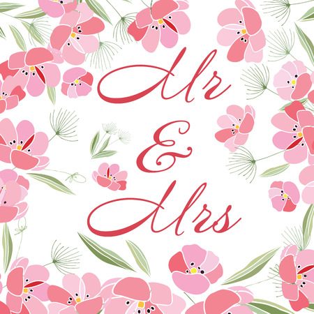 Retro style Illustration with flowers Illustration