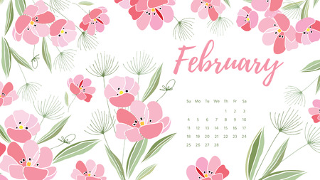 Vintage floral calendar 2018 Illustration