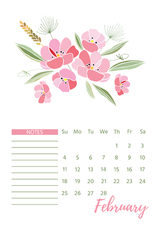 Vintage floral calendar 2018 with bouquet of flowers. Vector illustration.