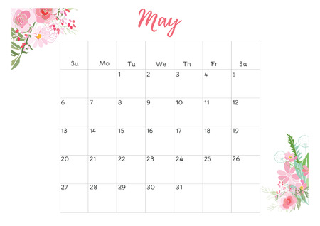 weekly: Vintage floral calendar 2018 with bouquet of flowers. Vector illustration.
