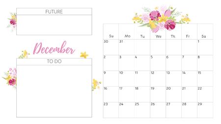 romantic date: Vintage floral calendar 2018 Illustration