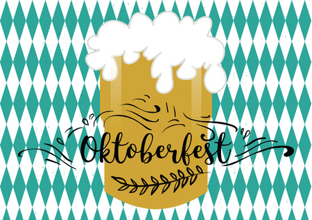 Holiday greetings illustration Oktoberfest. Vector illustration for you. Modern fashion trend design.