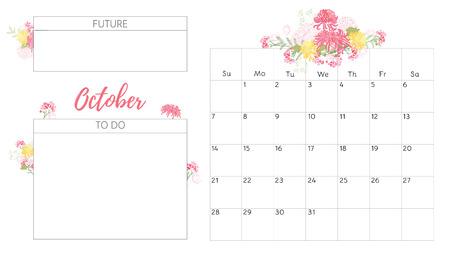 Vintage floral calendar 2018 vector illustration.