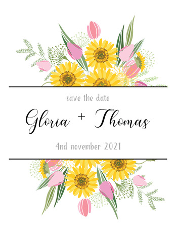 Greeting card for the wedding day. Illustration