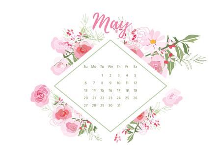 ビンテージ花カレンダー 2018 ベクトル イラスト。