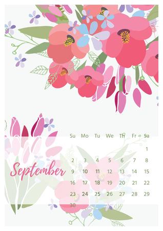 weekly: Vintage floral calendar 2018 vector illustration.