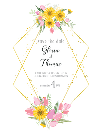 Greeting card for the wedding day with a bouquet of flowers. Flower composition to a celebratory event. Vector illustration Çizim