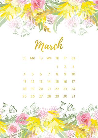 weekly: Vintage floral calendar 2018 Illustration