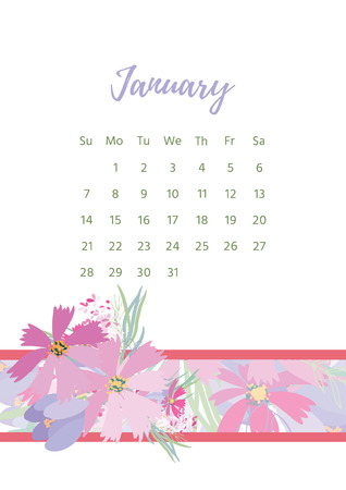 calendar design: Vintage floral calendar 2018 with bouquet of flowers. Vector illustration.