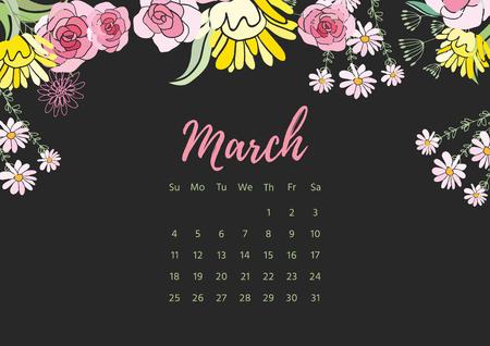 weekly: Vintage floral calendar 2018 on plain background. Illustration