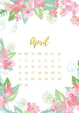 day: Vintage floral calendar 2018 Illustration