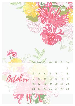 Vintage floral calendar 2018 Illustration