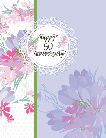 Greeting card for anniversary birthday Ilustração