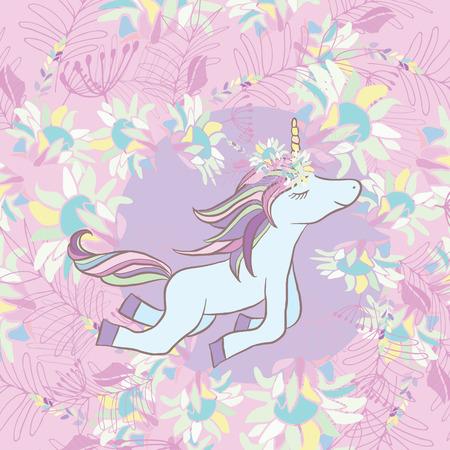 Retro stijl Illustratie met bloemen en dieren. Stock Illustratie