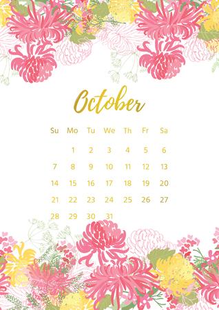 Vintage floral calendar 2018. Illustration