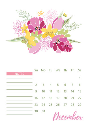 Vintage floral 2018 calendar. Illustration